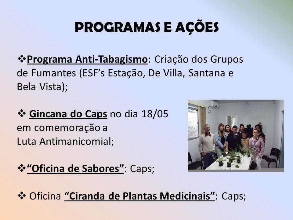 PROGRAMAS E AÇÕES Programa Anti-Tabagismo: Criação dos Grupos de Fumantes (ESF's Estação, De Villa, Santana e Bela Vista);