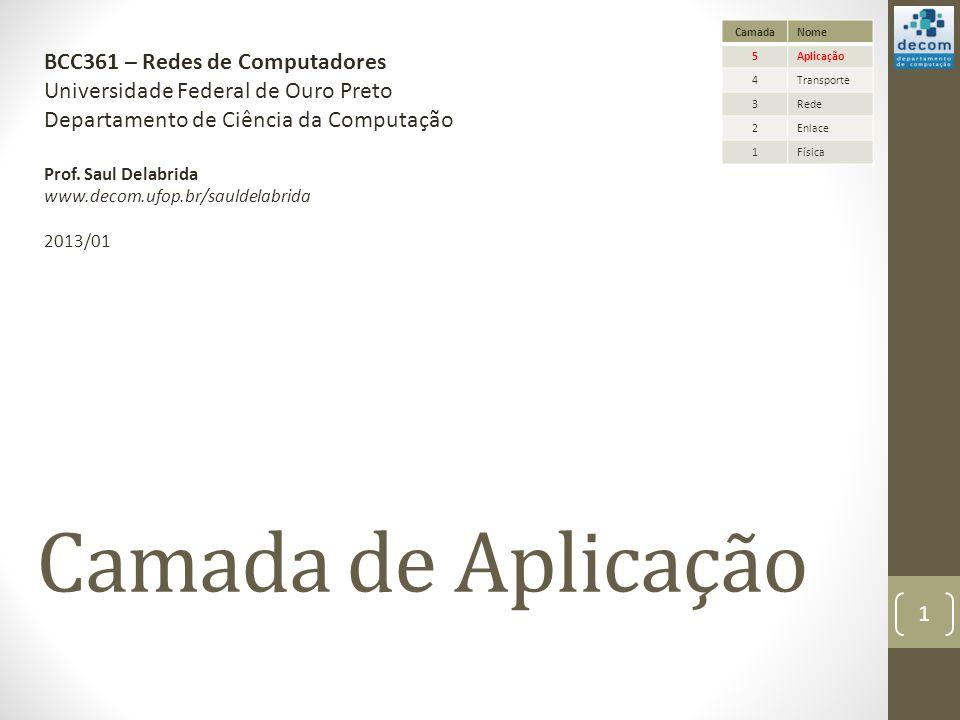Camada de Aplicação BCC361 – Redes de Computadores