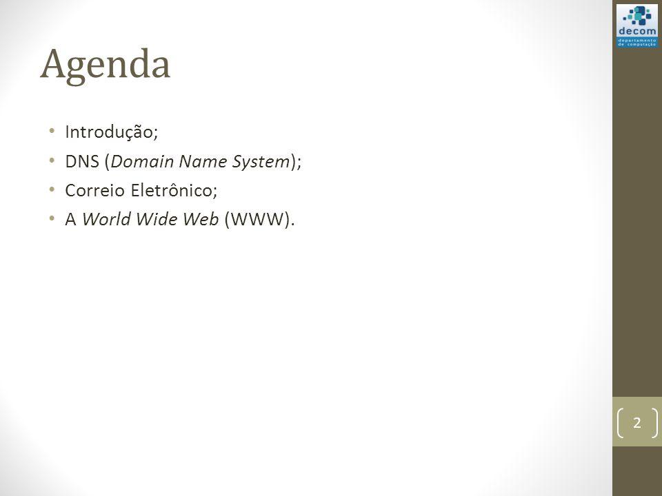Agenda Introdução; DNS (Domain Name System); Correio Eletrônico;