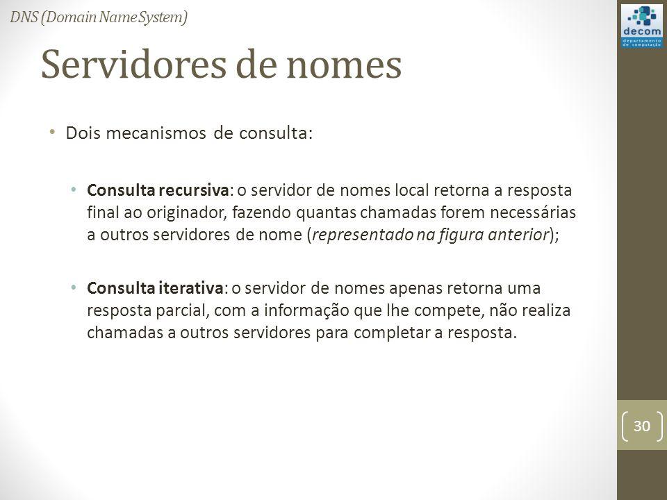 Servidores de nomes Dois mecanismos de consulta: