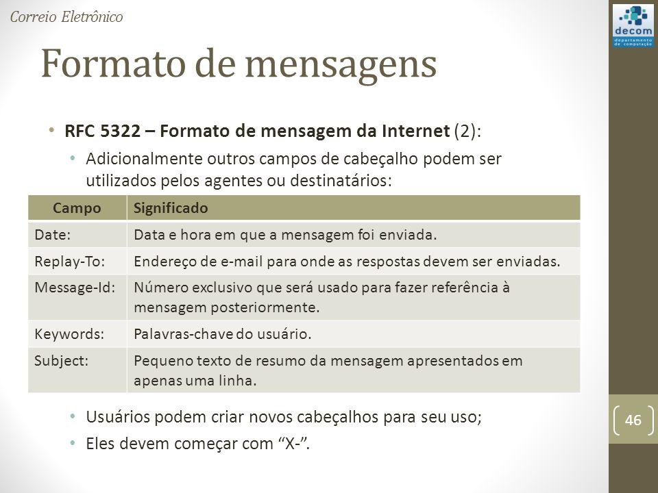 Formato de mensagens RFC 5322 – Formato de mensagem da Internet (2):