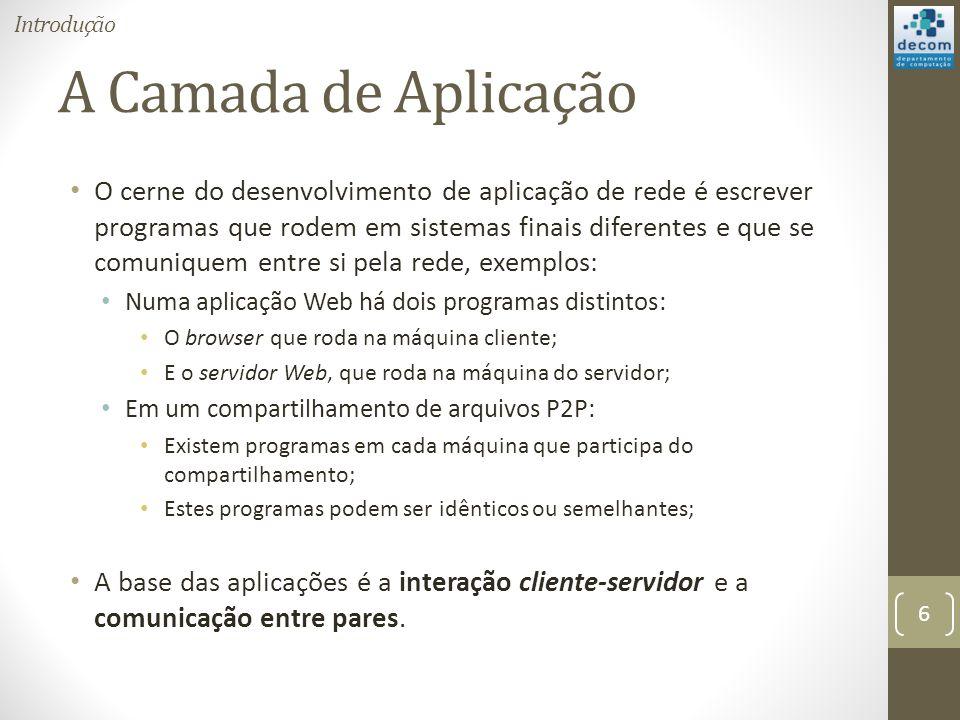 Introdução A Camada de Aplicação.