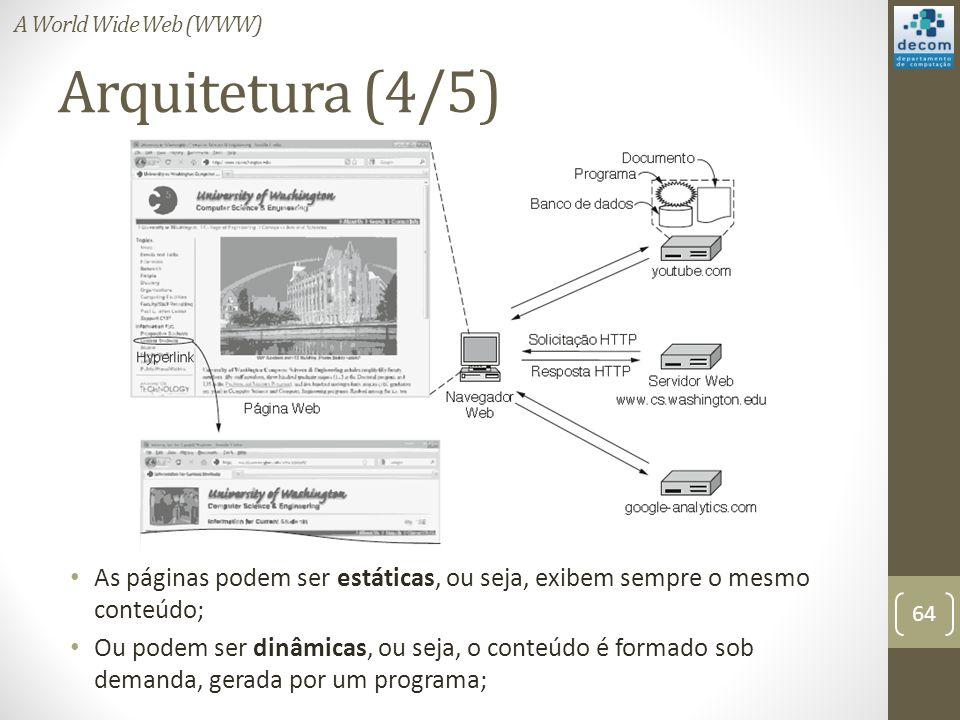 A World Wide Web (WWW) Arquitetura (4/5) As páginas podem ser estáticas, ou seja, exibem sempre o mesmo conteúdo;
