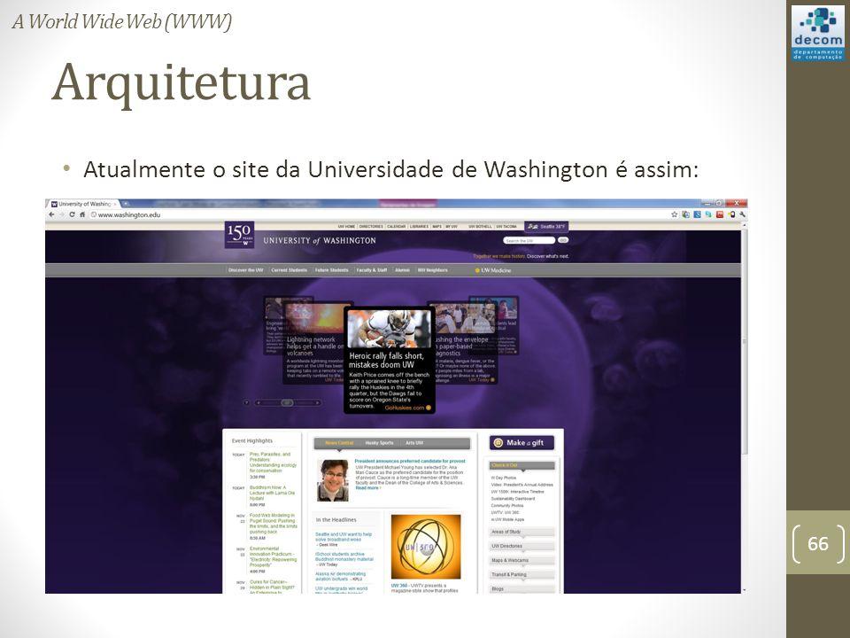 Arquitetura Atualmente o site da Universidade de Washington é assim: