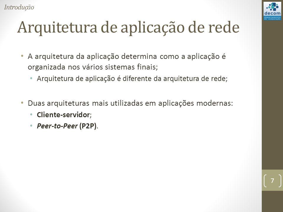 Arquitetura de aplicação de rede