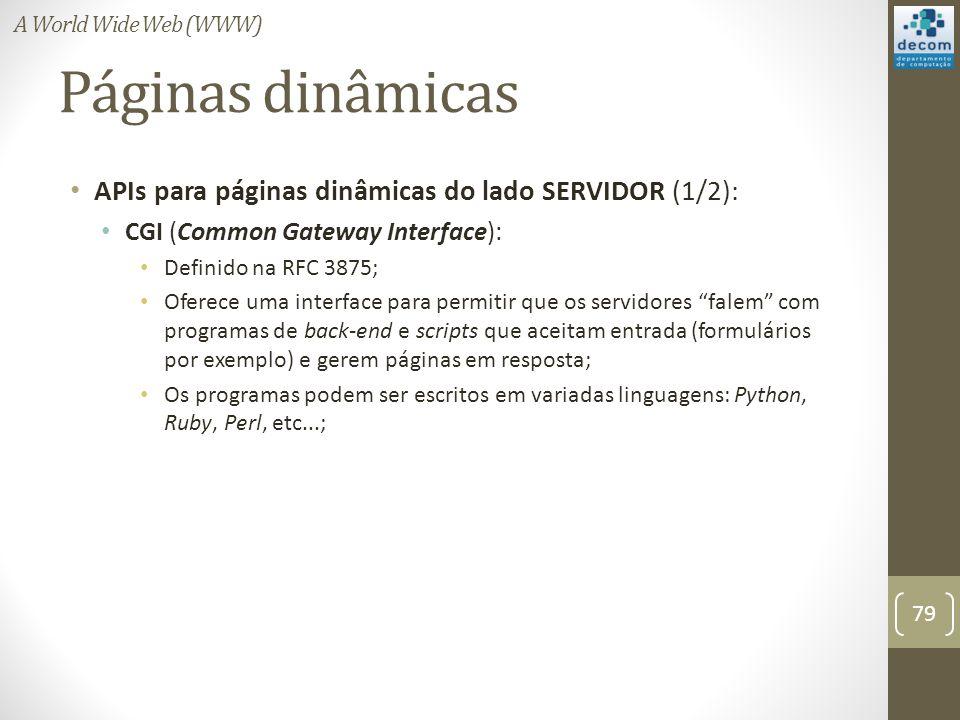 Páginas dinâmicas APIs para páginas dinâmicas do lado SERVIDOR (1/2):