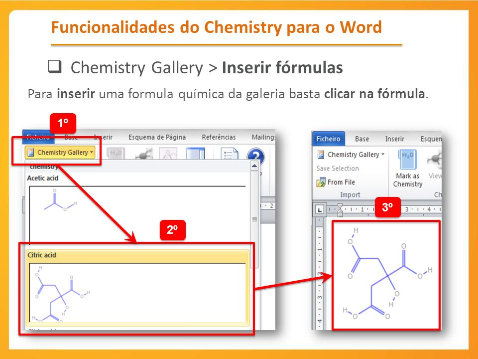 Funcionalidades do Chemistry para o Word