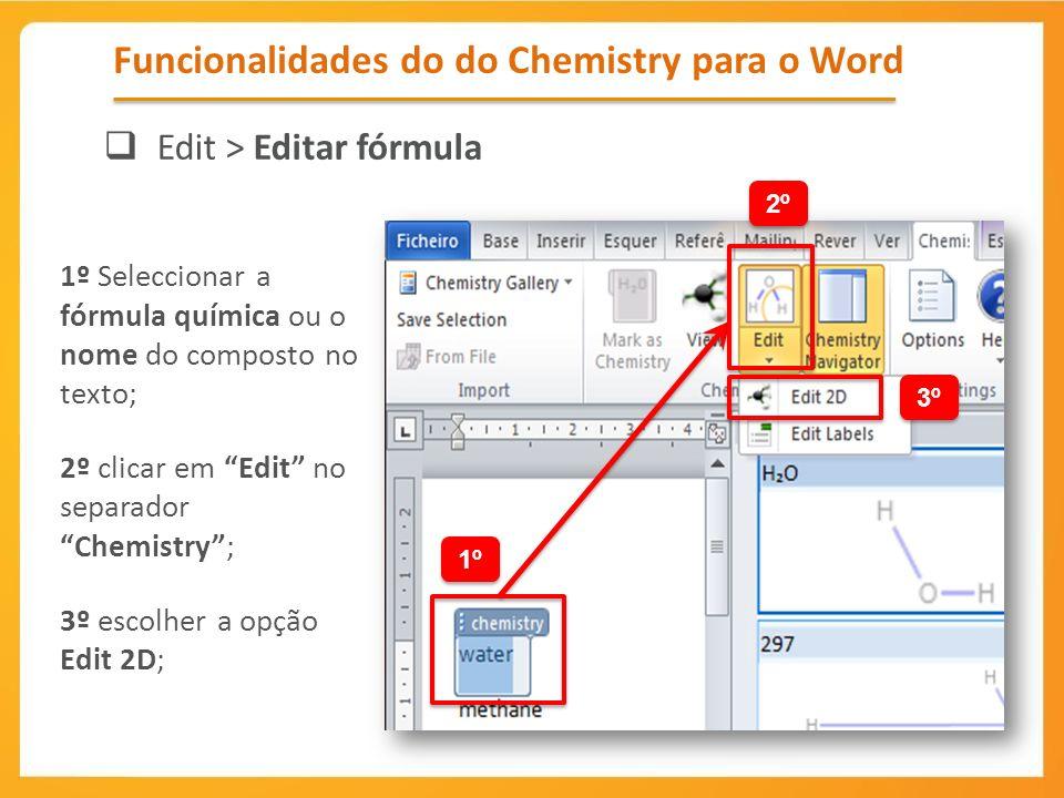 Funcionalidades do do Chemistry para o Word