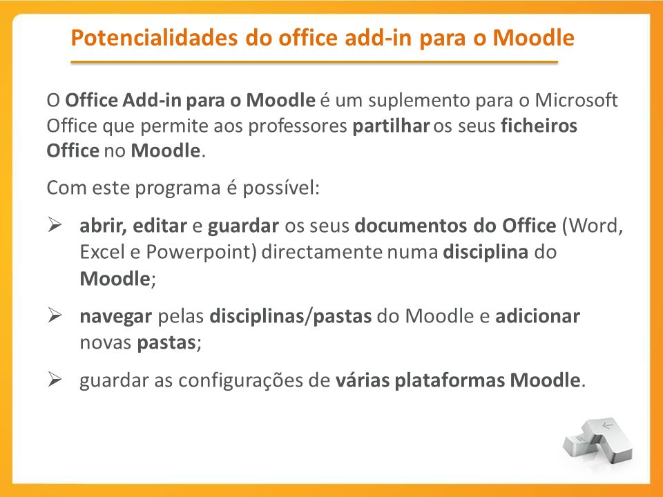 Potencialidades do office add-in para o Moodle