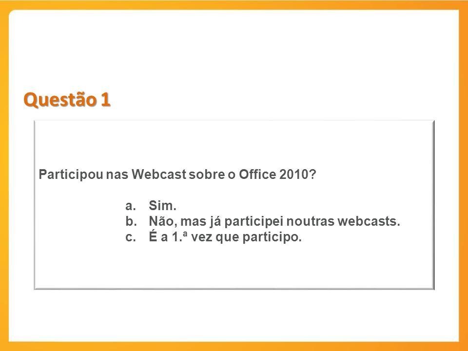 Questão 1 Participou nas Webcast sobre o Office 2010 Sim.