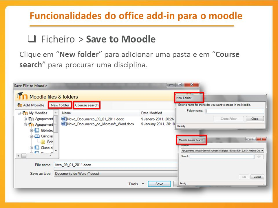 Funcionalidades do office add-in para o moodle
