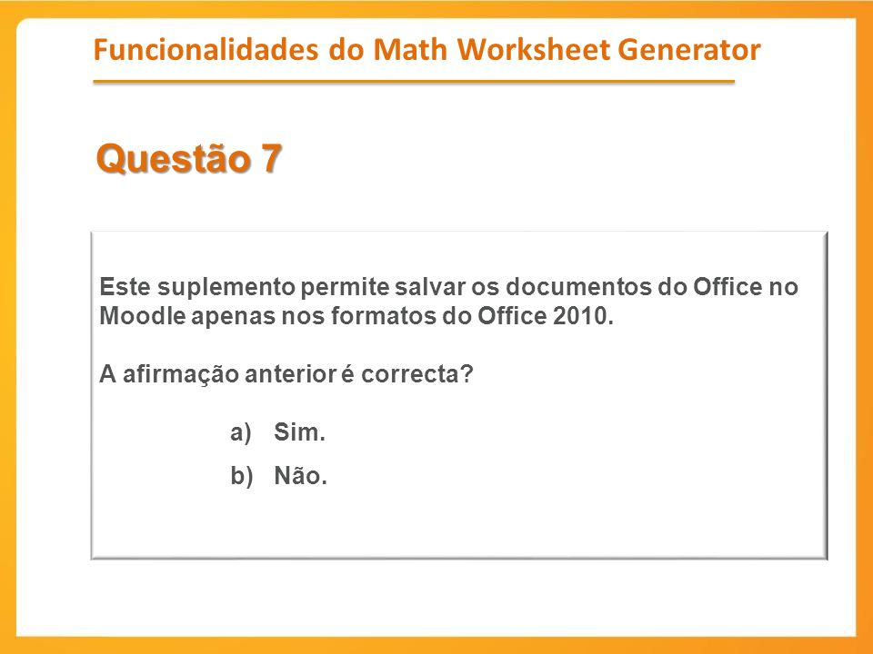 Funcionalidades do Math Worksheet Generator