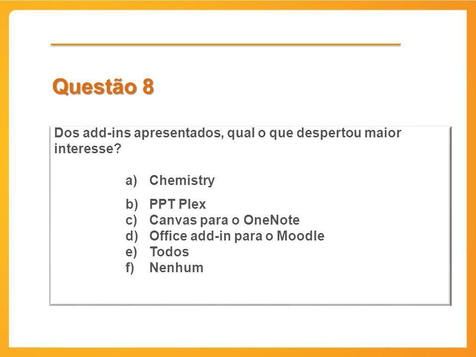 Questão 8 Dos add-ins apresentados, qual o que despertou maior interesse Chemistry. PPT Plex. Canvas para o OneNote.
