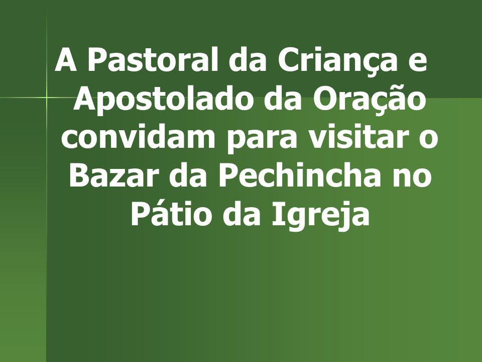 A Pastoral da Criança e Apostolado da Oração convidam para visitar o Bazar da Pechincha no Pátio da Igreja.
