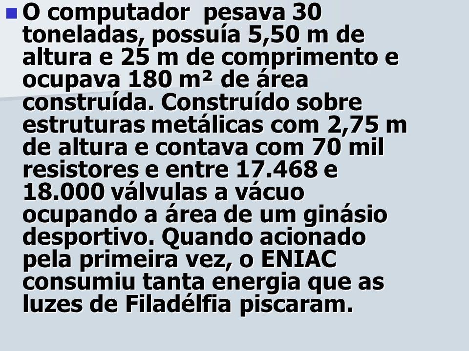 O computador pesava 30 toneladas, possuía 5,50 m de altura e 25 m de comprimento e ocupava 180 m² de área construída.