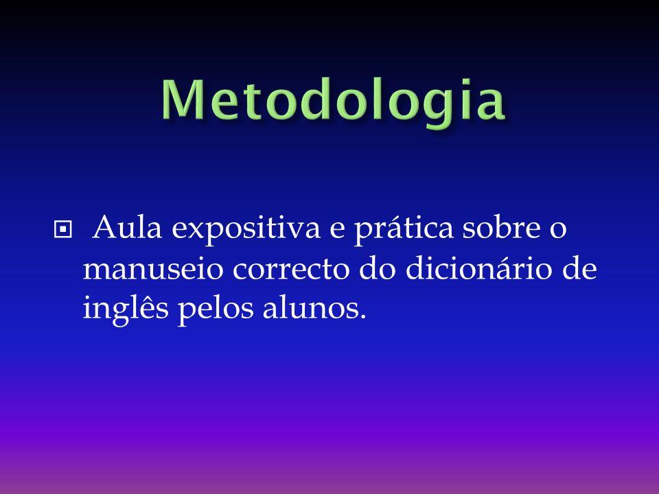 Metodologia Aula expositiva e prática sobre o manuseio correcto do dicionário de inglês pelos alunos.