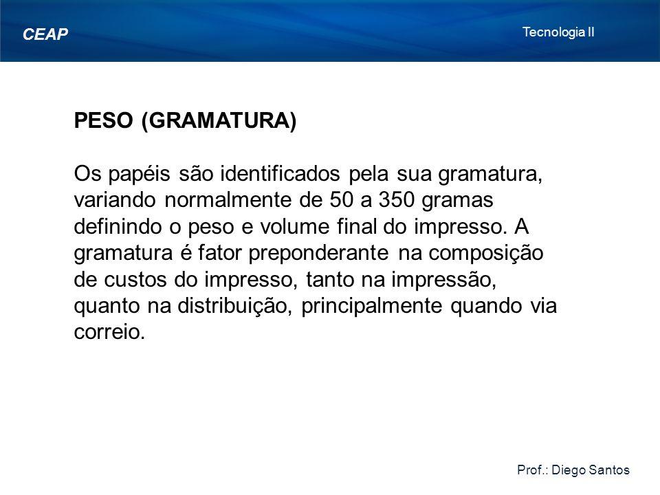 Tecnologia II Prof.: Diego Santos. CEAP. PESO (GRAMATURA)