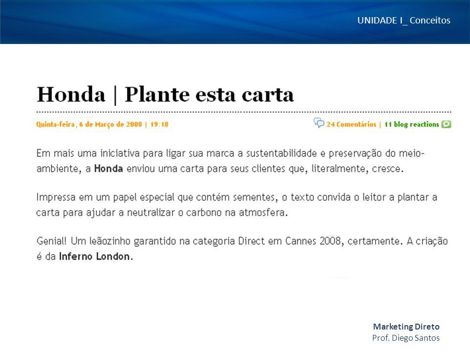 UNIDADE I_ Conceitos Prof. Diego Santos Marketing Direto
