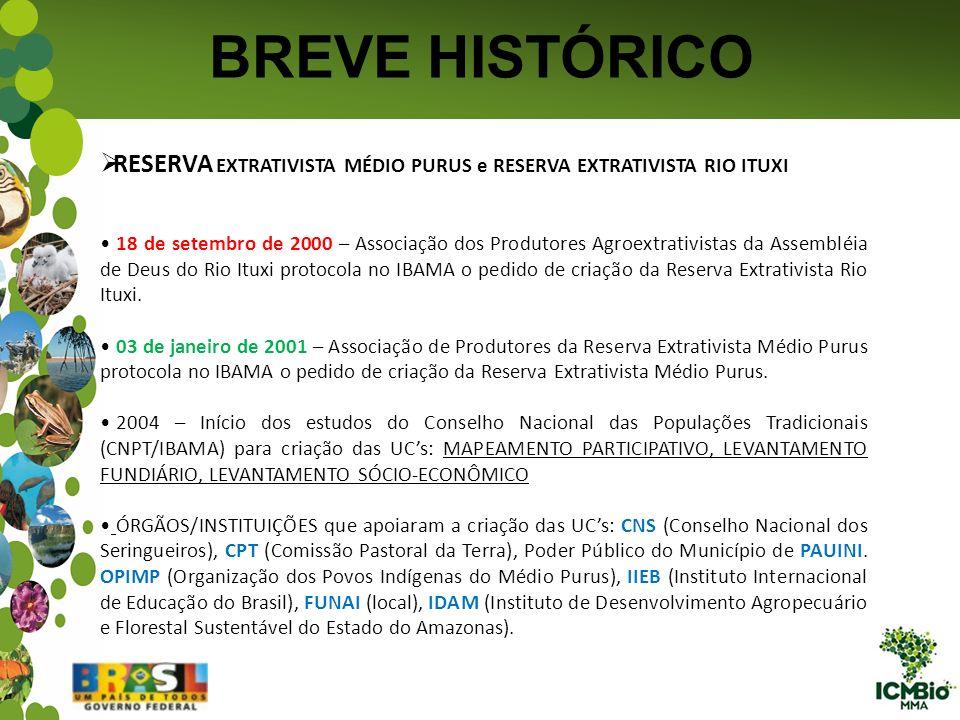 BREVE HISTÓRICO RESERVA EXTRATIVISTA MÉDIO PURUS e RESERVA EXTRATIVISTA RIO ITUXI.