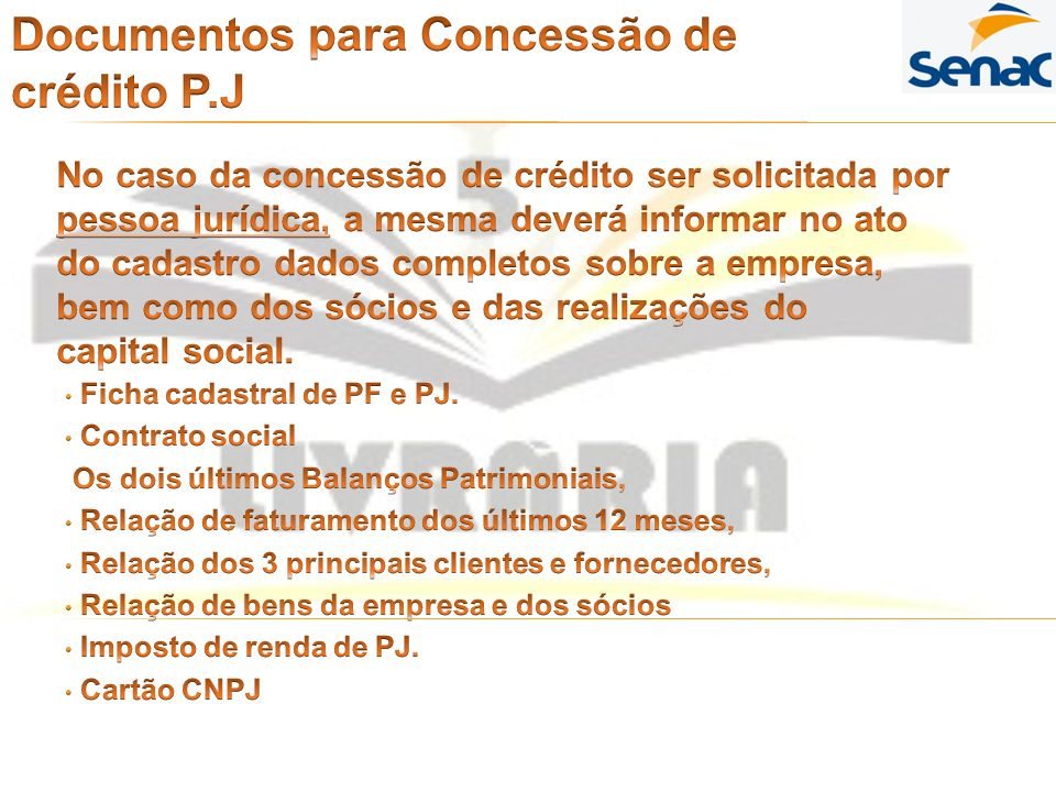 Documentos para Concessão de crédito P.J