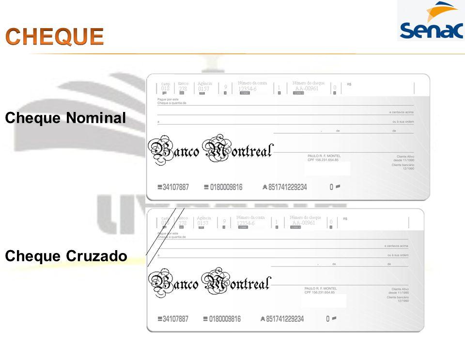 Cheque Cheque Nominal Cheque Cruzado