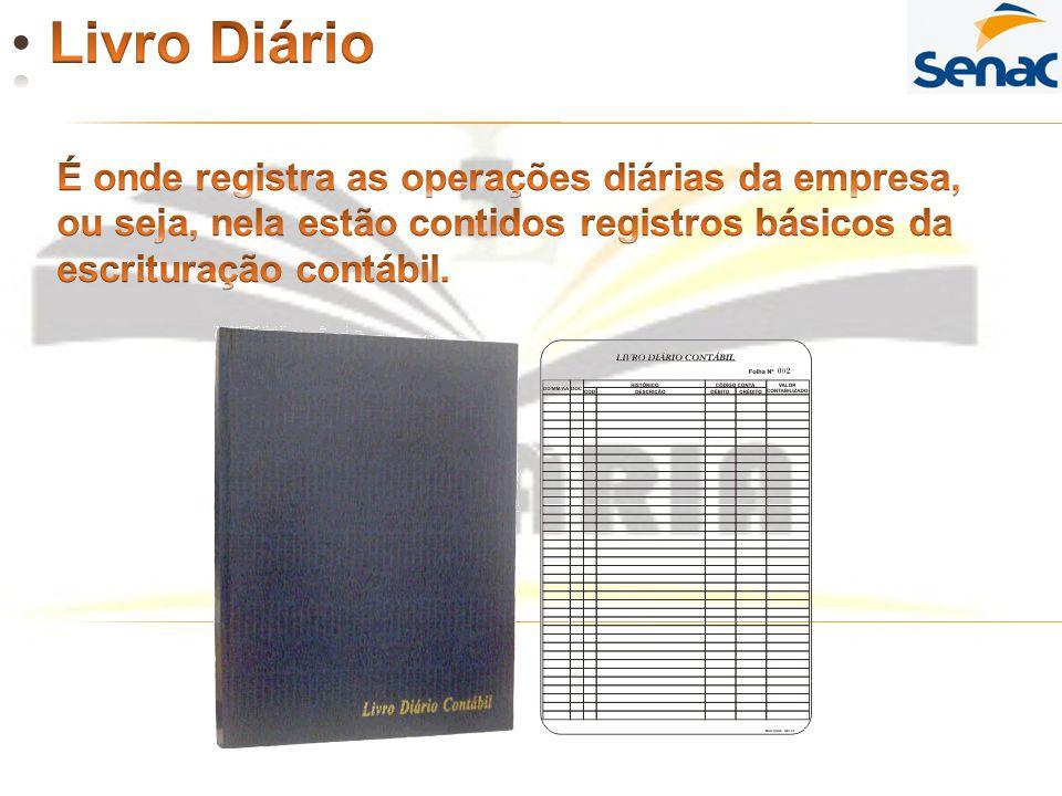 Livro Diário É onde registra as operações diárias da empresa,