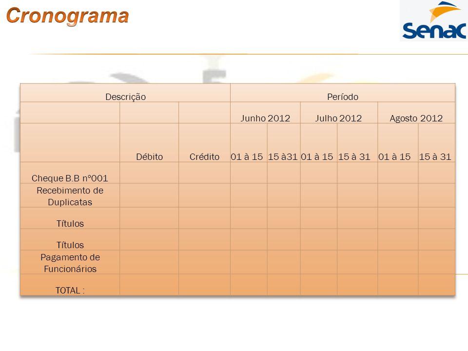 Cronograma Descrição Período Junho 2012 Julho 2012 Agosto 2012 Débito