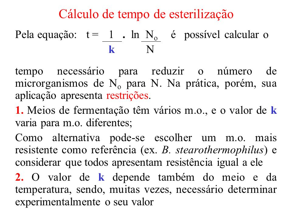 Cálculo de tempo de esterilização