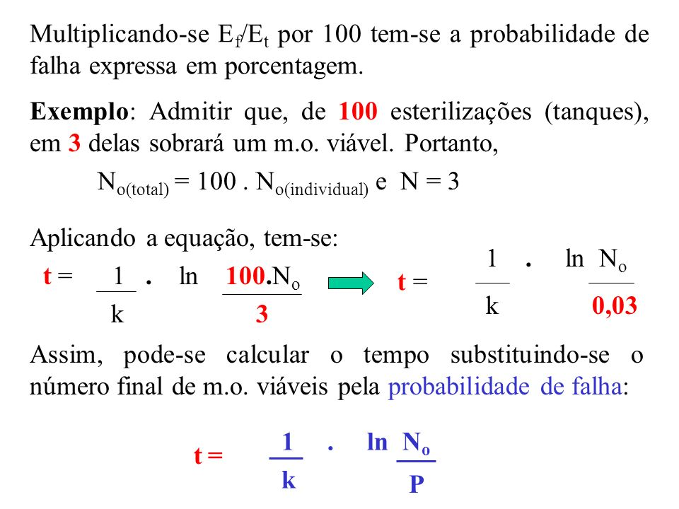 Multiplicando-se Ef/Et por 100 tem-se a probabilidade de falha expressa em porcentagem.