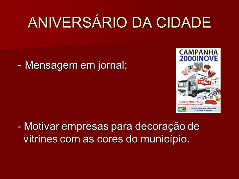 ANIVERSÁRIO DA CIDADE - Mensagem em jornal;