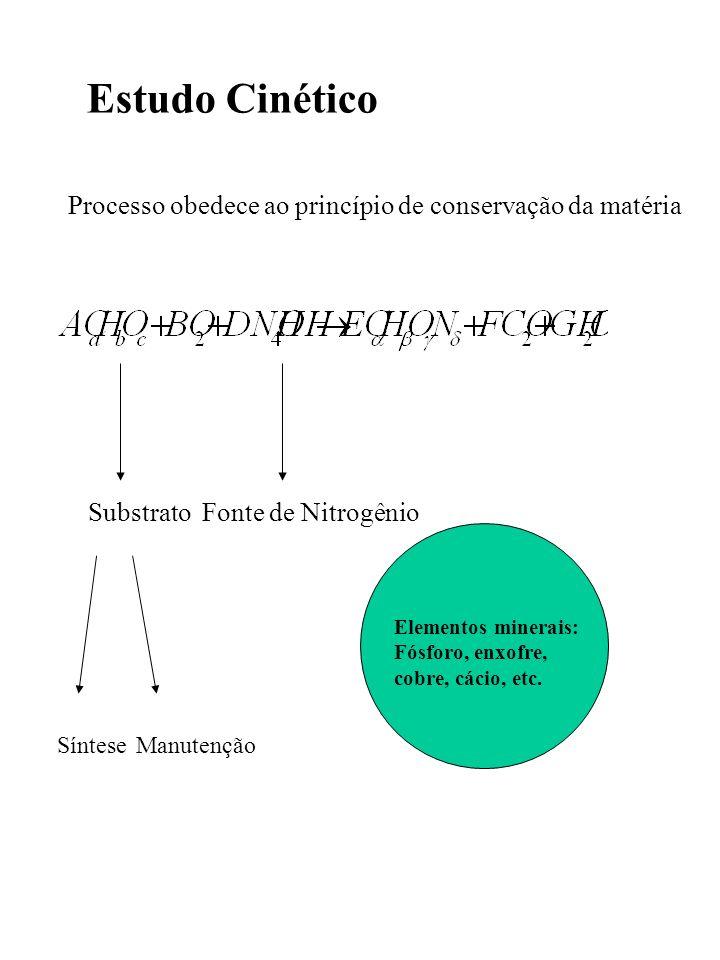 Estudo Cinético Processo obedece ao princípio de conservação da matéria. Substrato. Fonte de Nitrogênio.