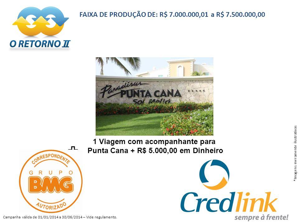 1 Viagem com acompanhante para Punta Cana + R$ 5.000,00 em Dinheiro