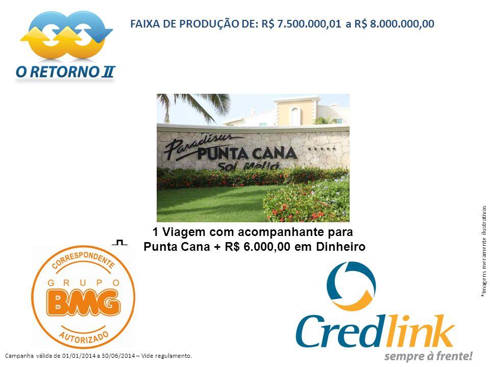 1 Viagem com acompanhante para Punta Cana + R$ 6.000,00 em Dinheiro