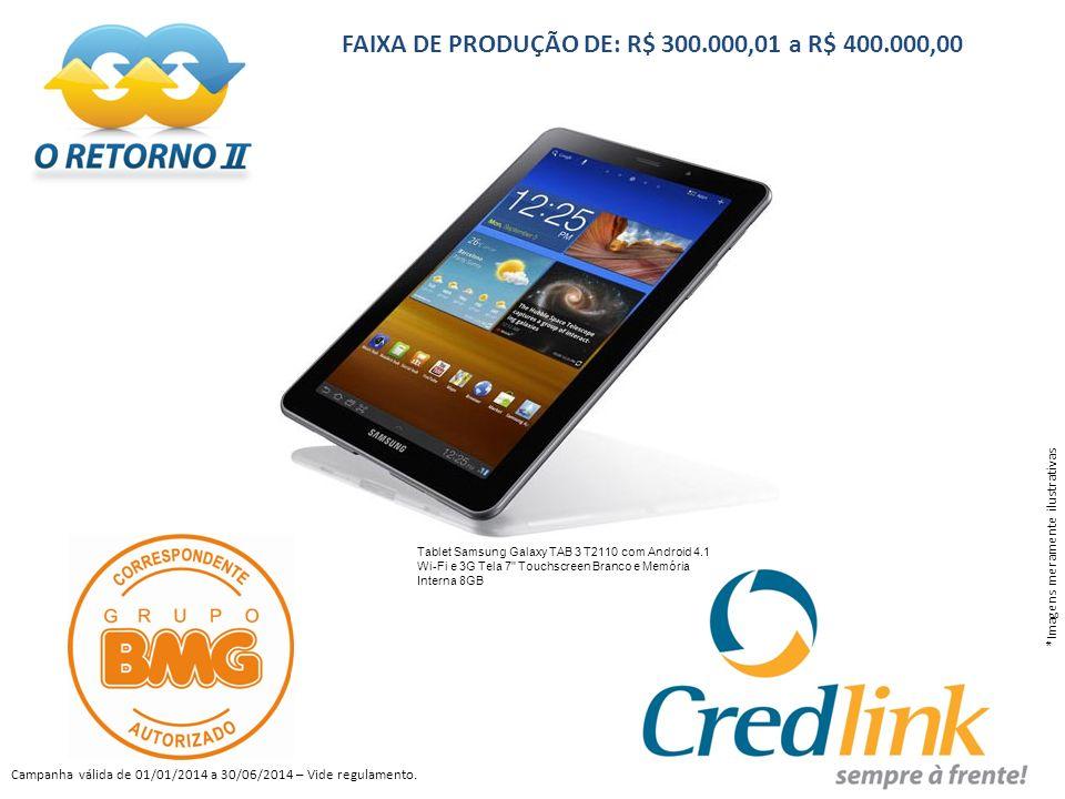 FAIXA DE PRODUÇÃO DE: R$ 300.000,01 a R$ 400.000,00