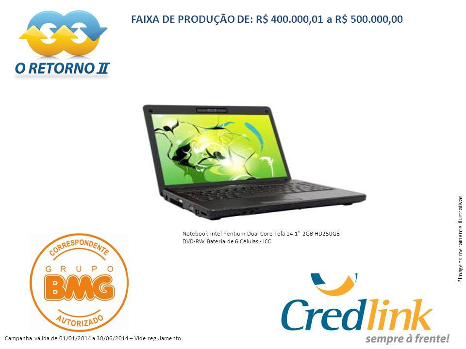 FAIXA DE PRODUÇÃO DE: R$ 400.000,01 a R$ 500.000,00
