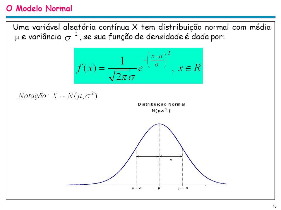 O Modelo Normal Uma variável aleatória contínua X tem distribuição normal com média  e variância , se sua função de densidade é dada por: