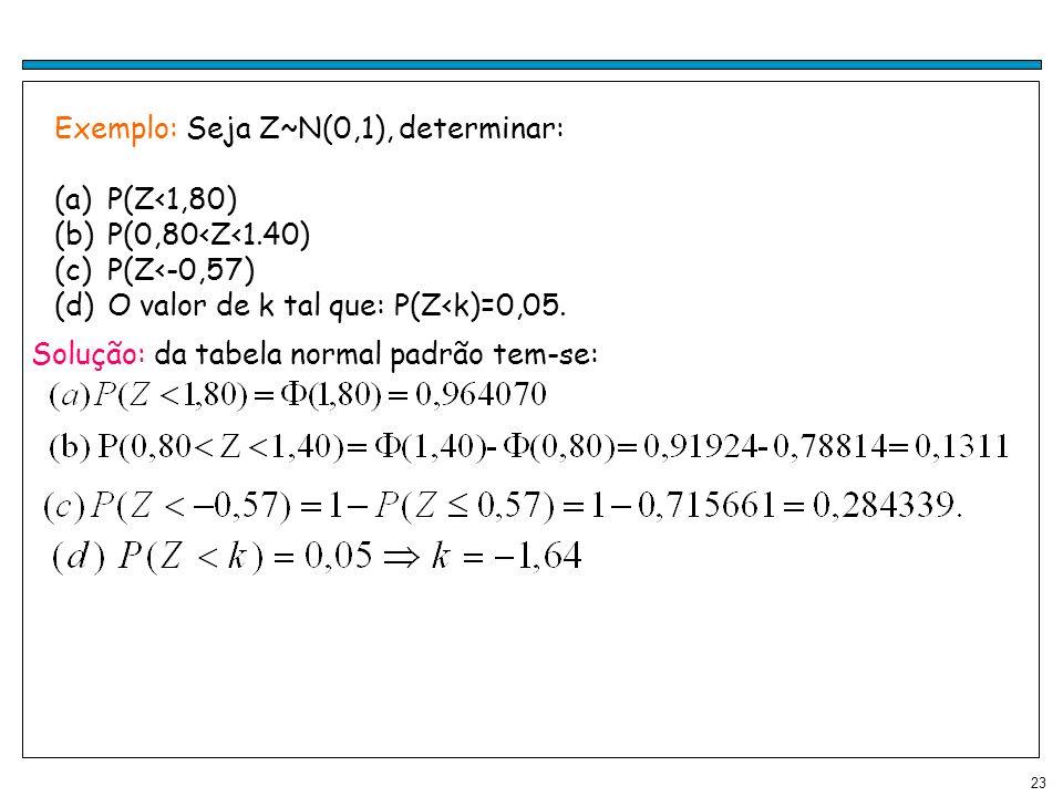 Exemplo: Seja Z~N(0,1), determinar: