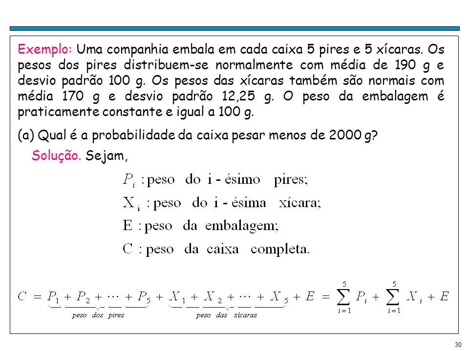 Exemplo: Uma companhia embala em cada caixa 5 pires e 5 xícaras