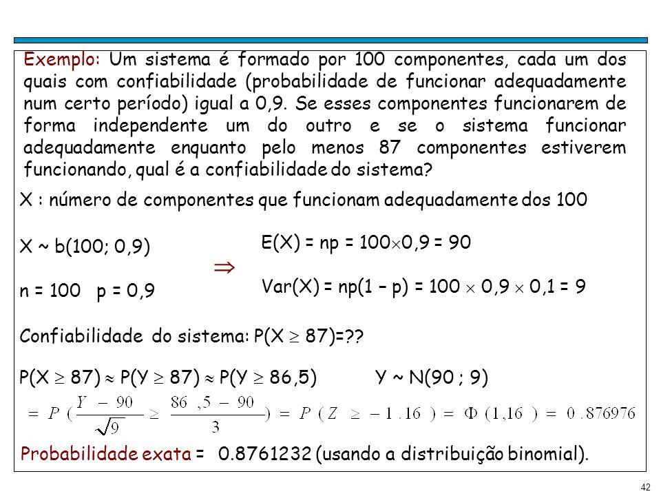 Exemplo: Um sistema é formado por 100 componentes, cada um dos quais com confiabilidade (probabilidade de funcionar adequadamente num certo período) igual a 0,9. Se esses componentes funcionarem de forma independente um do outro e se o sistema funcionar adequadamente enquanto pelo menos 87 componentes estiverem funcionando, qual é a confiabilidade do sistema