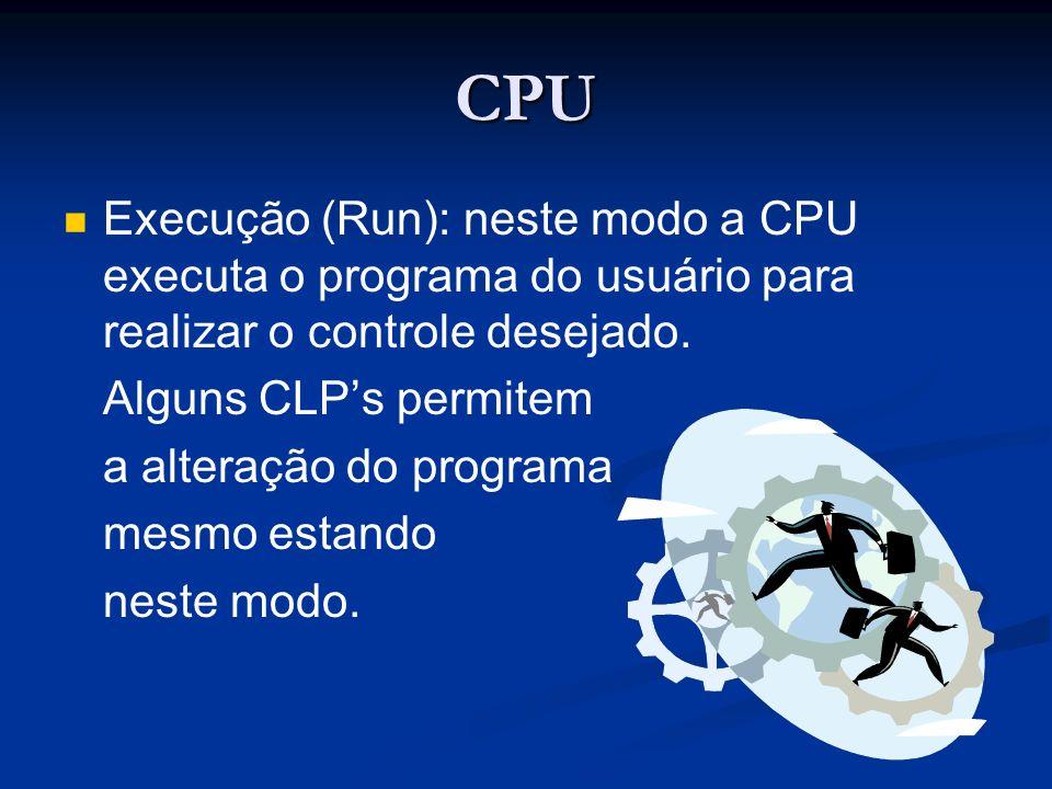CPU Execução (Run): neste modo a CPU executa o programa do usuário para realizar o controle desejado.