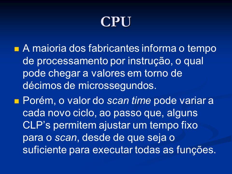 CPU A maioria dos fabricantes informa o tempo de processamento por instrução, o qual pode chegar a valores em torno de décimos de microssegundos.