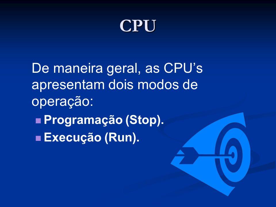 CPU Programação (Stop). Execução (Run).