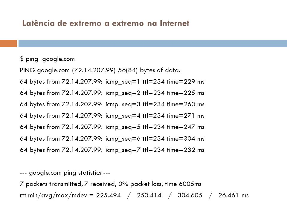 Latência de extremo a extremo na Internet