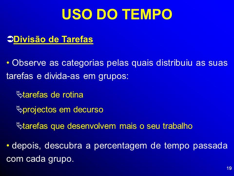 USO DO TEMPO Divisão de Tarefas