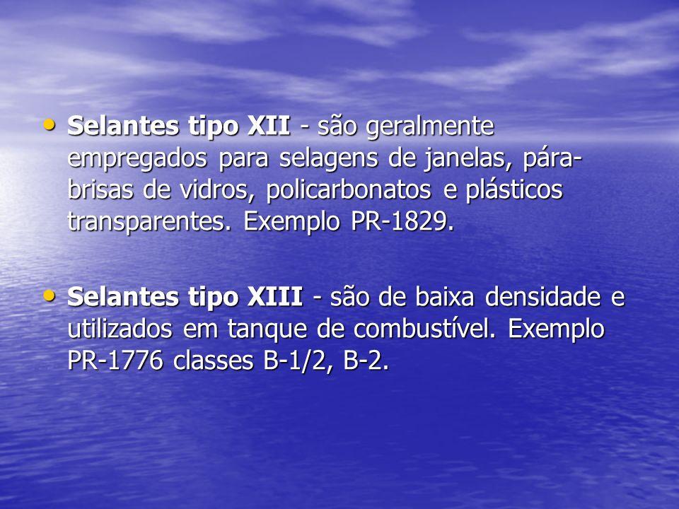 Selantes tipo XII - são geralmente empregados para selagens de janelas, pára-brisas de vidros, policarbonatos e plásticos transparentes. Exemplo PR-1829.