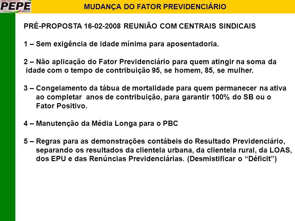 MUDANÇA DO FATOR PREVIDENCIÁRIO