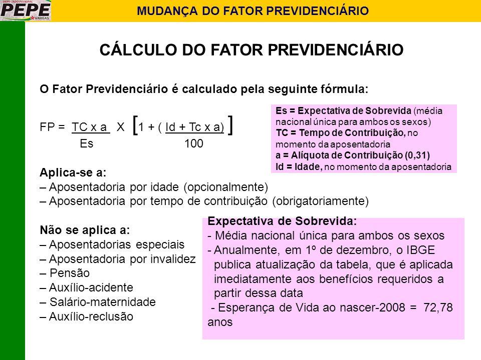 MUDANÇA DO FATOR PREVIDENCIÁRIO CÁLCULO DO FATOR PREVIDENCIÁRIO