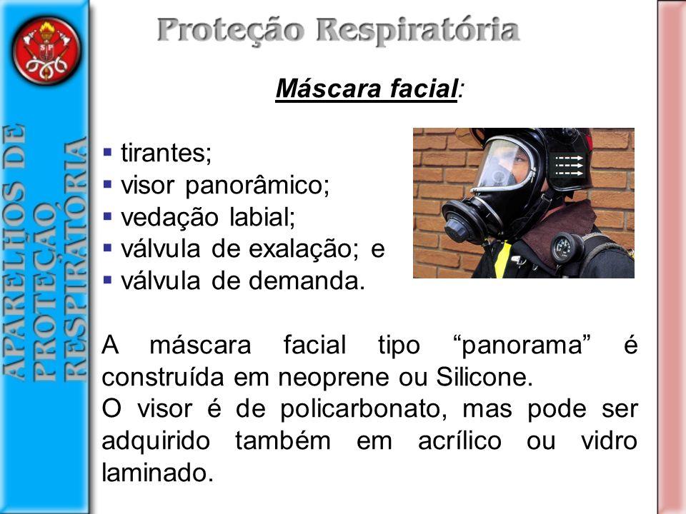 Máscara facial: tirantes; visor panorâmico; vedação labial; válvula de exalação; e. válvula de demanda.