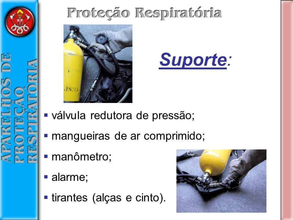 Suporte: válvula redutora de pressão; mangueiras de ar comprimido;
