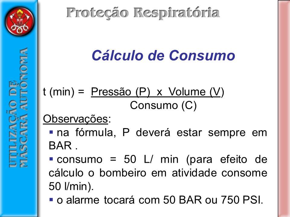 Cálculo de Consumo t (min) = Pressão (P) x Volume (V) Consumo (C)
